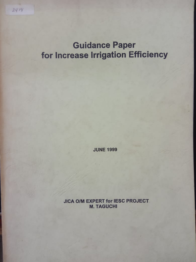 GUIDANCE PAPER FOR INCREASE IRRIGATION EFFICIENCY