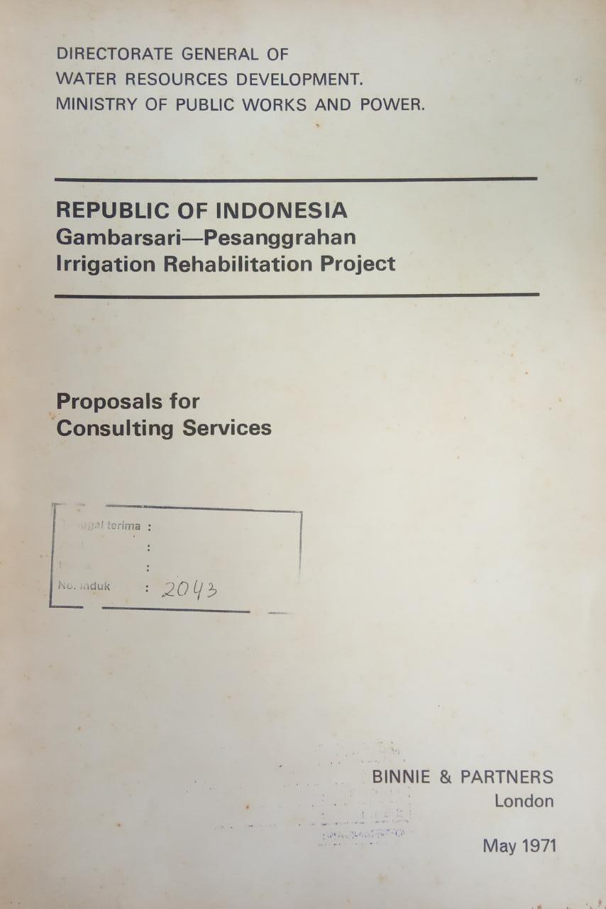 REPUBLIC OF INDONESIA GAMBARSARI -PESANGGRAHAN IRRIGATION REHABILITATION PROJECT